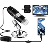 USB Digital Microscope 40X to 1000X, Bysameyee 8 LED Magnification Endoscope Camera with Carrying Case & Metal Stand, Compati