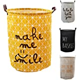 VR HOME Fashion Collapsible Laundry Baskets Fabric Washing Basket Laundry Hamper 63L Capacity (MAKE ME SMILE)