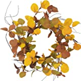 Bibelot 14 inches Summer& Autumn Eucalyptus LeavesWreath Thanksgiving Rustic Wreath for Front Door Decoration Rustic Farmhou
