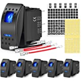 Nilight 6PCS 5PIN SPST Rocker Switches with 6 Sets Jumper Wires Set 20A/12V 10A/24V On/Off Toggle Switches with Night Glow St
