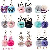 18Pcs Pom Pom Keychain Bulk w Travel Makeup Mirror Cute Fluffy Faux Fur Balls for Women Girls Bag Purse Charm Car Key Rings