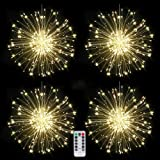4 packs Firework Lights Copper Wire LED Lights, 8 Modes Dimmable String Fairy Lights with Remote Control, Waterproof Hanging