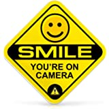Bigtime Signs Smile You're On Camera Sign | Security System Video Surveillance Sign | 12 Diamond with Predrilled Hole | Rigid
