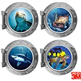 """OFISSON - 4 Pieces Bedroom 3D Wall Stickers - Porthole Sea Life Art Sticker 3M for Kids (Girls and Boys) Playroom (12"""" Diamet"""