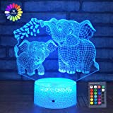Elephant 3D Night Light for Kids 3D Lamp with 16 Colors Changing Remote Control Elephant Toys 10 9 3 5 2 8 1 7 6 4 Year Old G