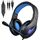 CLS-100 Gaming Headset (3.5mm Surround Sound, Locate Enemy's Positions by Voice) Mic Cancel Over-Ear Gaming Headphones with L