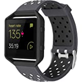 ESeekGo Bands Compatible with Fitbit Blaze Watch, Sport Breathable Silicone Replacement Wristband Smart Fitness Watch Bracele