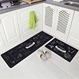 "Carvapet Cozinha 2 Piece Non-Slip Kitchen Mat with Rubber Backing, Navy Blue, 15"" x 47"" + 15"" x 23"""