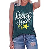 LOTUCY Women Resting Beach Face Tank Top Sleeveless Racerback Vest Top Letter Print Summer Vacation Cami