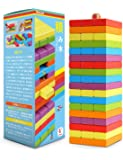 Homraku 木製バランスゲーム 立体パズル 積み木ブロック ドミノブロック テーブルゲーム 子供も大人も老若男女楽しめる おもちゃ 6カラー 54PCS 骰子付き