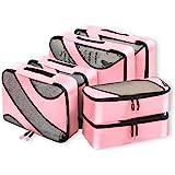 Bagail 6 Set Packing Cubes,3 Various Sizes Travel Luggage Packing Organizers Pink