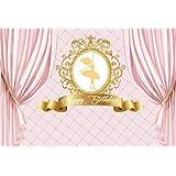 CSFOTO 7x5ft Background for Happy Birthday Princess Pink Curtain Photography Backdrop Girl Golden Elegant Ballet Dancer Celeb