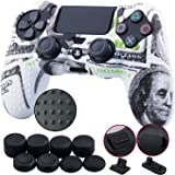 9CDeer 1 Piece of Silicone Studded Water Transfer Protective Sleeve Case Cover Skin + 8 Thumb Grips Analog Caps + 2 dust Proo