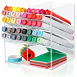 Acrylic Pen Organizer 3-Layer Acrylic Pen Holder Clear Desktop Organizer with 8 Compartments Art Supply Pencil Holder for Hom