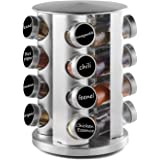 DEFWAY Revolving Countertop Spice Rack - Stainless Steel Spice Organizer with 16 Seasoning Jars, Large Standing Cabinet Seaso