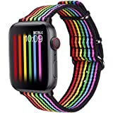 Bandmax Rainbow Watch Band Compatible for Apple Watch,LGBT Woven Nylon Wristband Replacement Sport Strap Compatible for iWatc