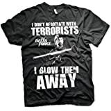Officially Licensed Chuck Norris - I Blow Terrorists Away Big & Tall T-Shirt (Black)