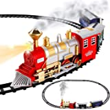 Classic Train Set for Kids with Smoke, Realistic Sounds, 3 Cars and 11 Feet of Tracks (13 pcs) Colors May Vary