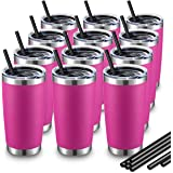 ALOUFEA 20oz Stainless Steel Tumblers Bulk, Vacuum Insulated Tumblers Pack with Lid and Straw, Double Wall Coffee Tumbler, Po