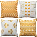 WLNUI Mustard Yellow Boho Modern Pillow Covers 18x18 Inch Set of 4 Square Farmhouse Throw Pillow Covers Geometric Mudcloth Li