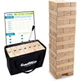 Giant Tumbling Timber Toy - Jumbo JR. Wooden Blocks Floor Game for Kids and Adults, 56 Pieces, Premium Pine Wood, Carry Bag -