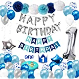1st Birthday Decorations for Boys with Birthday Crown - First Birthday Boy Decorations - Birthday Party Supplies for 1 Year O