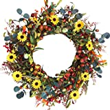 """Fall Berry Wreath,24"""" Artificial Front Door Wreath with Rich Berries and Flowers, Large Colorful Autumn Wreath for Front Door"""