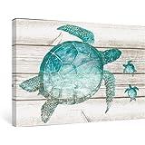 SUMGAR Teal Sea Turtle Wall Art Decor for Bathroom Painting Frame Vintage Artwork Prints Ready to Hang,40x60cm