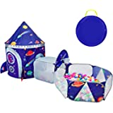 TTLOJ 3pc Outer Space Kids Play Tent Crawl Tunnel and Ball Pit with Basketball Hoop Playhouse Tent for Girls Boys Outdoor Ind