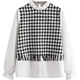 Verdusa Women's Elegant Frilled Mock Neck Houndstooth Fringe Shirt Blouse Top