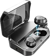 【進化版 3500mAh IPX7完全防水】Bluetooth イヤホン Hi-Fi 高音質 最新Bluetooth5.0+EDR搭載 120時間連続駆動 3Dステレオサウンド 完全ワイヤレス イヤホン 自動ペアリング ブルートゥース イヤホン AAC対応 左右分離型 Siri対応 音量調整可能 超大容量充電ケース付き 片耳&両耳とも対応 iPhone/ipad/Android適用