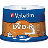 Verbatim 4.7GB up to 16x Recordable Disc AZO DVD-R 50-Disc Spindle 95101, Silver