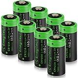 Enegitech 8個 CR123A 3Vリチウムバッテリ1600mAh非充電式 PTC保護付き カメラ 測光計 マイク レーザーポインター 懐中電灯用