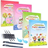 Magic Practice Copybook for Kids Calligraphic Letter Drawing Mathematics Addition and Subtraction Writing Tool,Reusable Calli