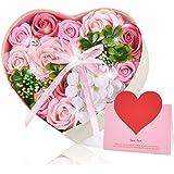Pknoclan ソープフラワーギフトボックス、 ピンクバラ石鹸花、母の日プレゼント、誕生日贈り物、 記念日・お祝い・バレンタインデー・ホワイトデー(メッセージカード付き)