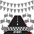 Race Car Party Decorations, Long Racetrack Floor Running Mat Checkered Pennant Banner Racing Flags Checked Black and White Ra
