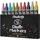 Metallic Chalk Markers (10 Pack) Liquid Chalk Pens - for Blackboards, Chalkboard, Bistro Menu, Window - Wet Wipe Erasable - 6