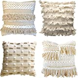 satTva Cushions Covers Set of 4 for Sofa - Plush Boho Decorative Woven Textured Throw Pillow Covers -Luxury Style Couch Cushi