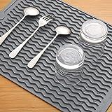 水切りマット 大判 キッチン 食器 乾燥用マット 速乾 食器 収納 断熱マット 滑り止 ループ付き (グレー, 30x40cm)