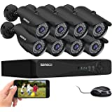 SANSCO Pro CCTV Security Camera System 4 Channel 1080N DVR, (2) Bullet (2) Dome Cameras (All HD 720p 1MP), 1TB Internal Hard