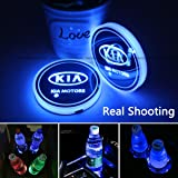 2pcs LED Car Cup Holder Lights for KIA, 7 Colors Changing USB Charging Mat Luminescent Cup Pad, LED Interior Atmosphere Lamp