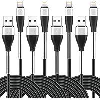 """閃電電纜長 """"2米×4根"""" iPhone充電 2米 高耐久性 彈簧保護 根部強化 快速充電&數據傳輸 柔軟性 iPhon…"""