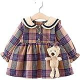 CHUBBYBUN BABY Girls Plaid Skirt Dress with Baby Bear Toy