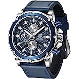 BENYAR-男性用のスタイリッシュな腕時計、本革ストラップ時計、パーフェクトなクォーツムーブメント、防水性と耐スクラッチ性、アナログクロノグラフビジネスウォッチ、最高のメンズギフト