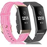 RIOROO Compatible with Fitbit Charge 4 Bands/Charge 3 Bands/Charge 3 SE Bands for Women Men Soft Fabric Woven Cloth Replaceme