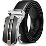 BOSTANTEN Men's Leather Ratchet Dress Belt with Automatic Sliding Buckle Black men
