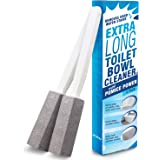 IMPRESA Pumice Stone Toilet Bowl Cleaner with Extra Long Handle, 2 Pack! - Limescale Remover - 100% Natural Pumice Toilet Bru