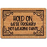 """LRZ Funny Welcome Novelty Home Decor Doormats Hold On We're Probably Not Wearing Pants Funny Rugs 15.9""""(W) X 23.7""""(L) Anti-Sl"""