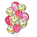HOUZE LS-9492 Balloons (Set of 10) - Rainbow Unicorn with Clear Glitters