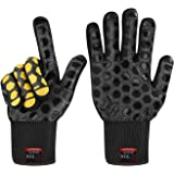 JH Heat Resistant BBQ Glove:EN407 Certified 932 °F, 2 Layers Silicone Coating, Black Shell with Black/Yellow Coating, BBQ & O